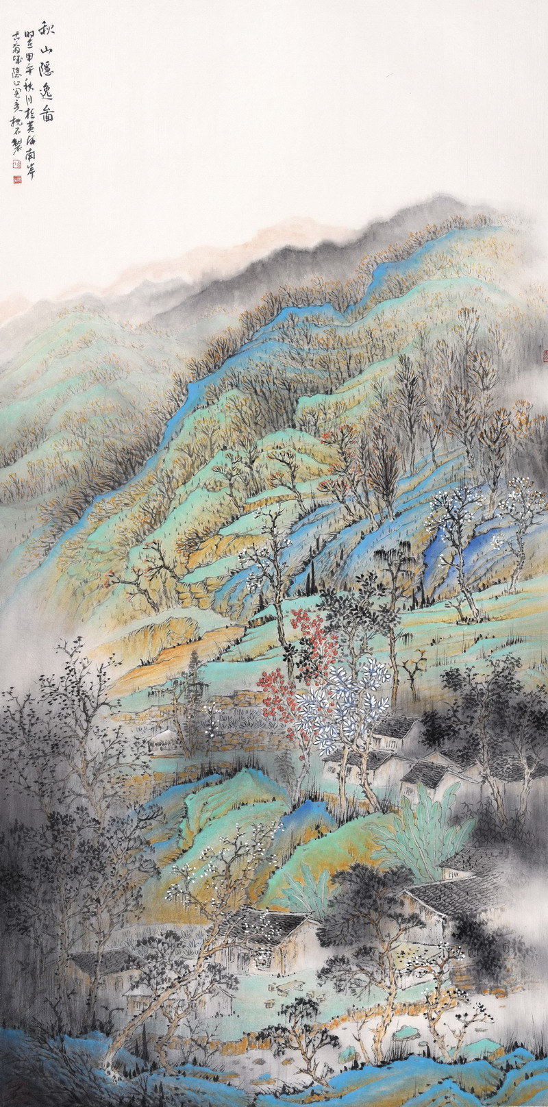 乔枕石山水画