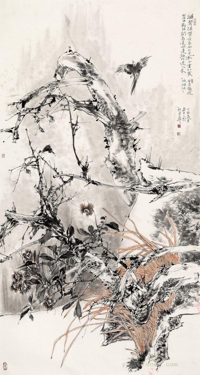 秦英豪花鸟画作品