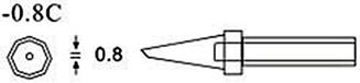 200-0.8C马蹄形烙铁咀尺寸图
