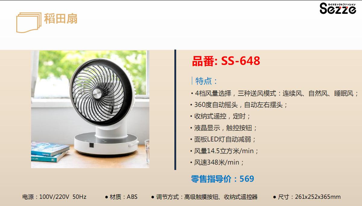 Sezze品牌稻田扇SS-648