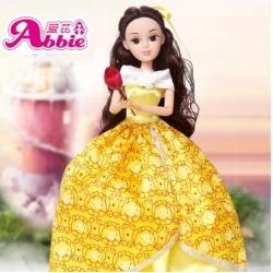 Abbie 芭比娃娃玩具套装礼盒儿童玩具女孩美女与野兽贝儿公主衣服