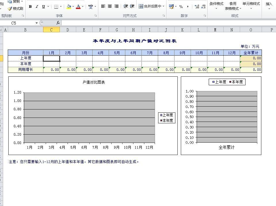 本年度与上年同期产值对比图表Excel模板08