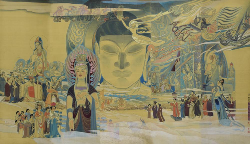 禹化兴 丝路明珠 敦煌莫高窟 (中国美术馆 全国美展二等奖)中国画 1990