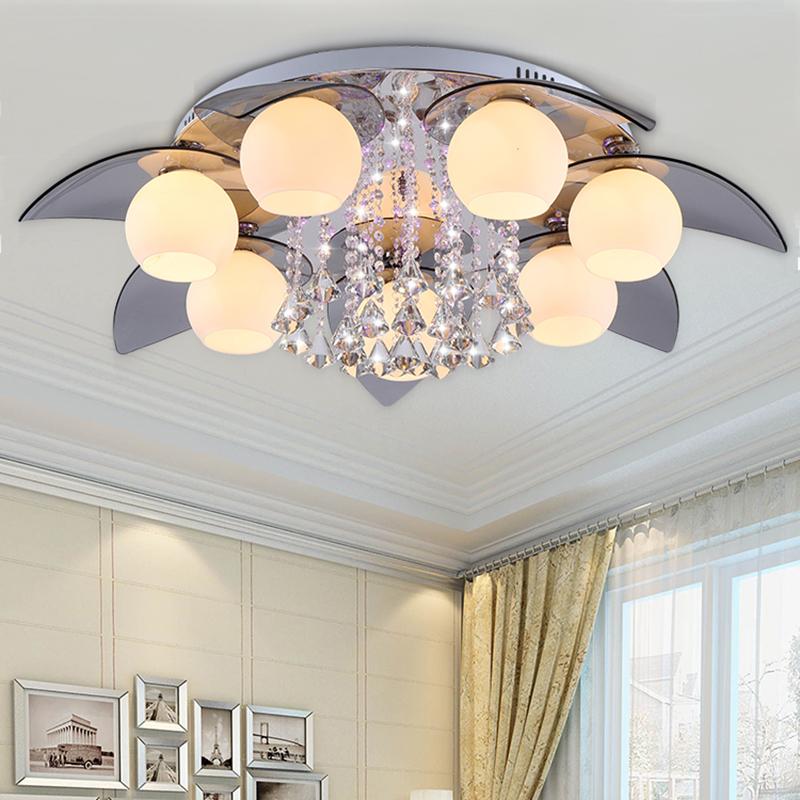创意玻璃LED吸顶灯3/5/7头客厅灯水晶灯卧室灯温馨浪漫餐厅灯具