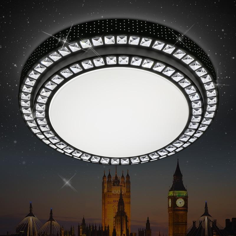 热卖双层水晶灯LED吸顶灯圆形客厅灯卧室灯温馨浪漫书房餐厅灯具