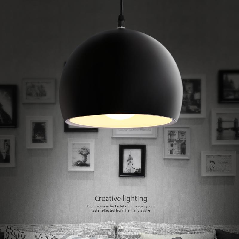 铝材LED吊灯创意灯罩艺术时尚黑色白色卧室餐厅灯酒店吧台小吊灯