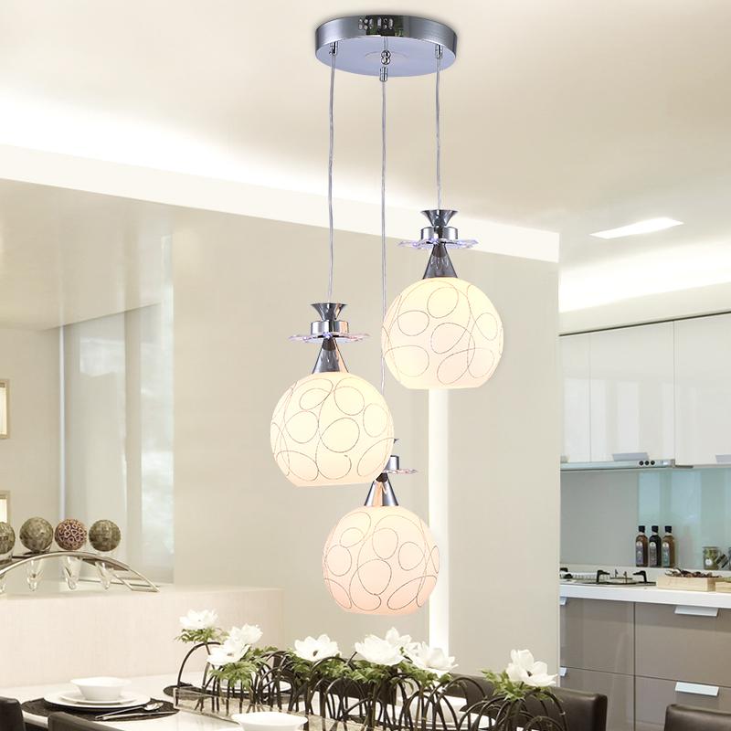 创意玻璃灯罩小吊灯创意艺术餐厅灯吊灯三头酒吧台卧室厨房灯具