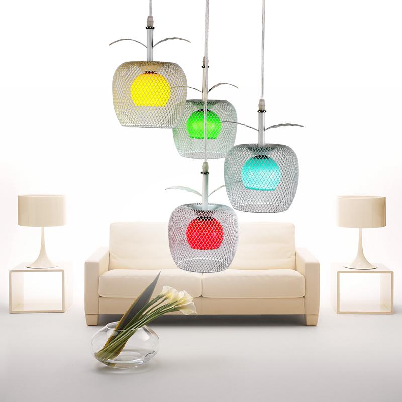 灯饰彩色苹果铁艺玻璃4头艺术吊灯20瓦白光LED餐厅饭厅吊灯具