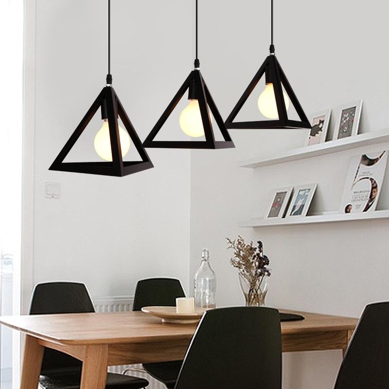 LED餐厅灯吊灯三头三角灯罩创意黑白简约小吊灯美式单头吧台吊灯
