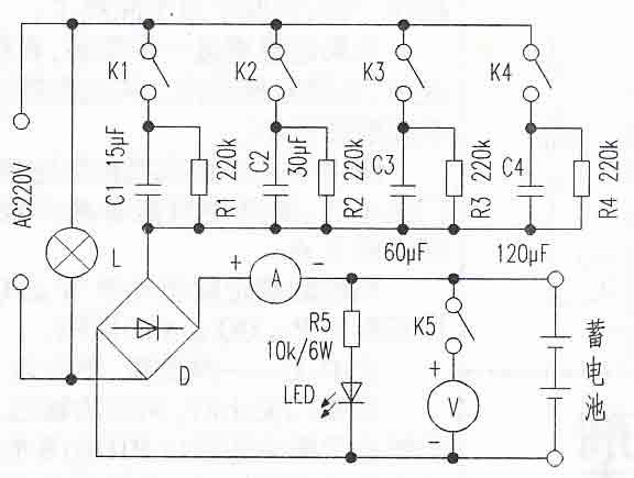 led组成空载报警指示电路(为了安全,充电器不可在空载状态下插入220v