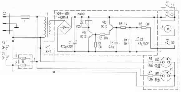 电源变压器t将220v交流电降压,由次级输出的交流电经vd1~vd4桥式整流