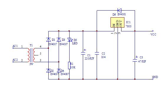 一,7805电源电路原理图