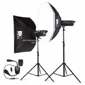 迪生影室闪光灯M-400W摄影灯套装 摄影棚柔光箱摄影器材人像拍摄