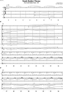 《古墓丽影组曲》众筹奖品:签名版《古墓丽影组曲》乐章首页