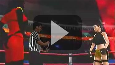 """劳拉穿越到""""世界摔角联盟女子冠军赛""""大战炼狱(Purgatori)"""