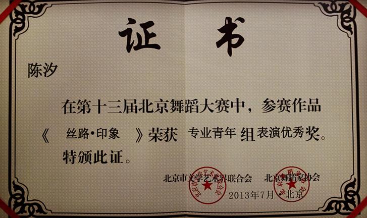 陈汐舞蹈获奖证书