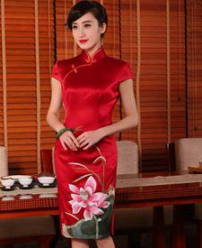 蜀绣旗袍 独秀 夏装新款旗袍  重磅真丝绣花红色结婚旗袍