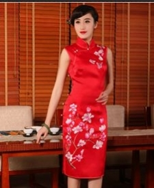 名流旗袍 新款重磅真丝手工推绣花旗袍裙 复古红色结婚旗袍