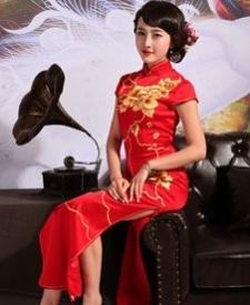 名流旗袍 丹艳 新款中式复古绣花长款新娘结婚敬酒服红旗袍