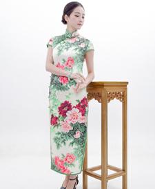 巧之韵 富贵花 重磅真丝时尚优雅旗袍 手工旗袍高端定制