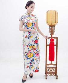 巧之韵 真丝全开襟优雅旗袍 传统三绲边手工旗袍高端定制
