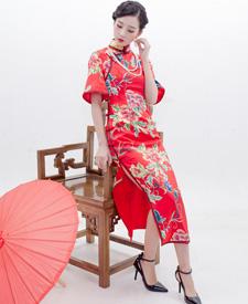 巧之韵 花想容 红 新中式中长款大袖旗袍 高雅旗袍 手工旗袍定制