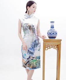 巧之韵 画中画 高档重磅真丝旗袍 复古改良时尚旗袍裙手工定制