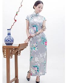 巧之韵 浅呓花 真丝手工旗袍高端定制 高雅 花色修身月牙袖旗袍