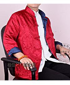 巧之韵 三五真丝缎红色蓝色搭配男士唐装 正反两面穿男士唐装