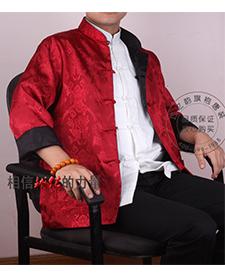 巧之韵 三五真丝缎黑红搭配男士唐装 正反两面穿男士唐装
