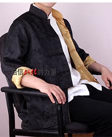 巧之韵 三五真丝缎男士唐装 正反两面穿男士唐装黑色黄色搭配