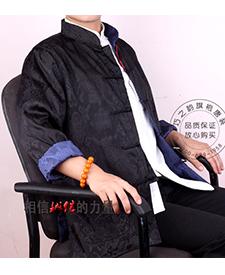 巧之韵 三五真丝缎男士唐装 正反两面穿男士唐装黑色蓝色搭配