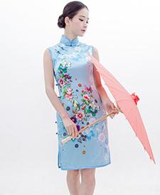 巧之韵旗袍 绽放 原创 真丝日常改良 修身气质时尚短旗袍 传统真开襟