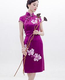 巧之韵 紫风瑶 重磅真丝手绣旗袍 华丽典雅蜀绣全开襟复古旗袍