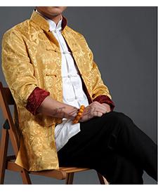 巧之韵 黄与红色三五真丝缎男士唐装 正反两面穿男士唐装