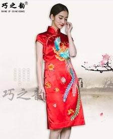 巧之韵 凤舞香罗 中式古典刺绣旗袍 蜀绣经典旗袍 手工旗袍定做