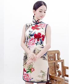 巧之韵旗袍 画水墨 高档桑蚕丝时尚气质修身短款旗袍 手工定制旗袍
