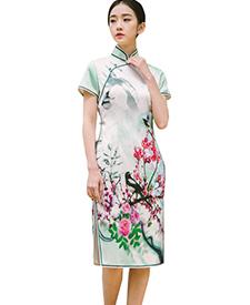 巧之韵 莺语 定位花真丝旗袍短款 传统春夏新款复古旗袍 手工旗袍定做