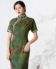 巧之韵生如夏花,重磅香云纱民国传统老旗袍,平肩小连袖旗袍,古法平裁通袖旗袍