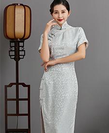 巧之韵 思烟  提花真丝古法旗袍,民国连肩旗袍,银灰色传统平裁旗袍