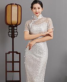 巧之韵星海白,民国传统老旗袍,平肩小连袖旗袍,古法平裁通袖旗袍