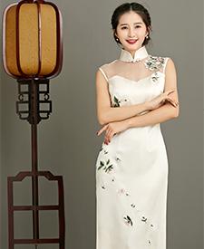 巧之韵  【致青春】 重磅真丝蜀绣 旗袍 复古老上海手工旗袍裙中式礼服