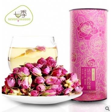 七季 法兰西玫瑰 粉玫瑰花茶 礼罐装 花茶批发 分销代理